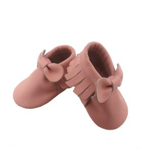 pink bow moccasins