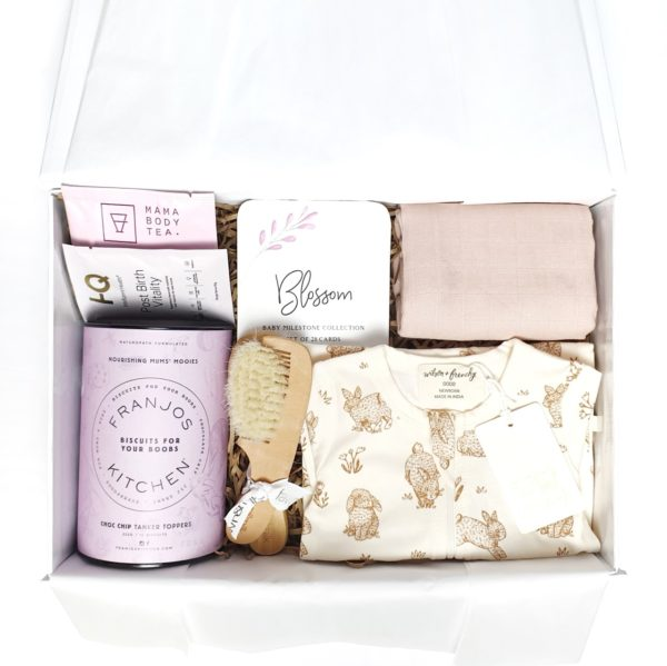 'Baby Shower - Pink Leaf Milestones' - New Mum and Baby Hamper