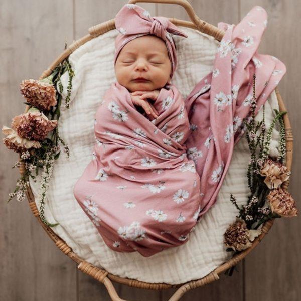 Snuggle-Hunny-Kids-Daisy-Baby-Jersey-Wrap-Top-Knot-Set-