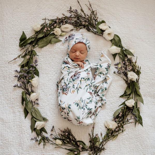 Eucalypt Baby Jersey Wrap + Beanie