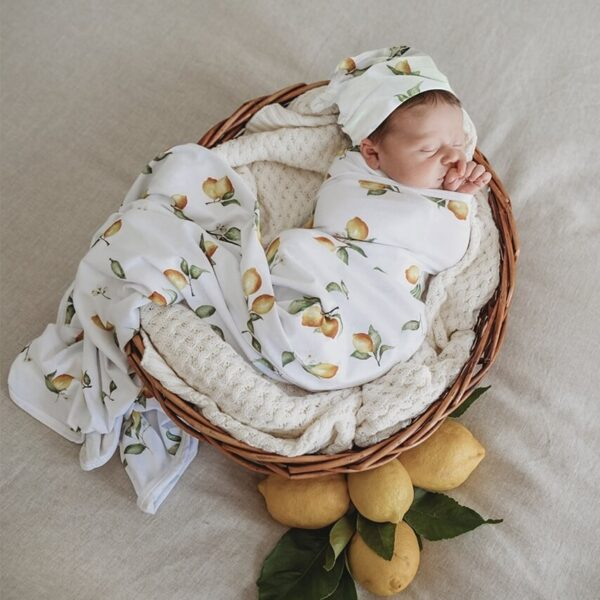 Lemon Baby Jersey Wrap + Beanie
